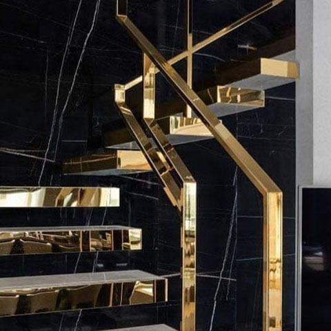304 Gold Mirror Stainless steel stair railing in interior application