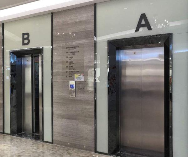 Mirror black stainless steel elevator door