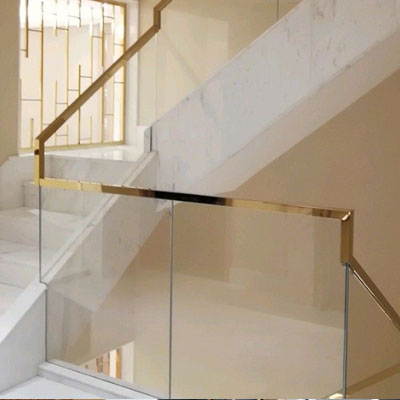 Gold Mirror Stainless steel glass railing