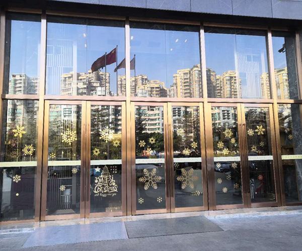 Stainless steel hotel glass door