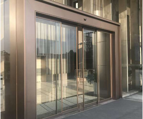 Stainless steel hotel glass induction sliding door