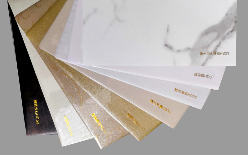Color stainless steel PVC composite sheet on kitchen cabinets