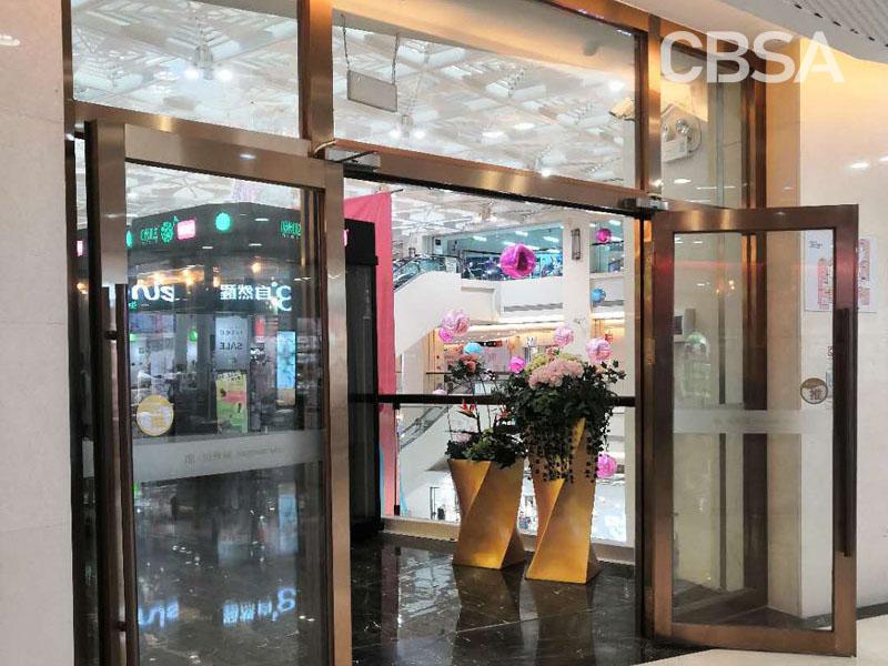 Rose gold stainless steel glass door
