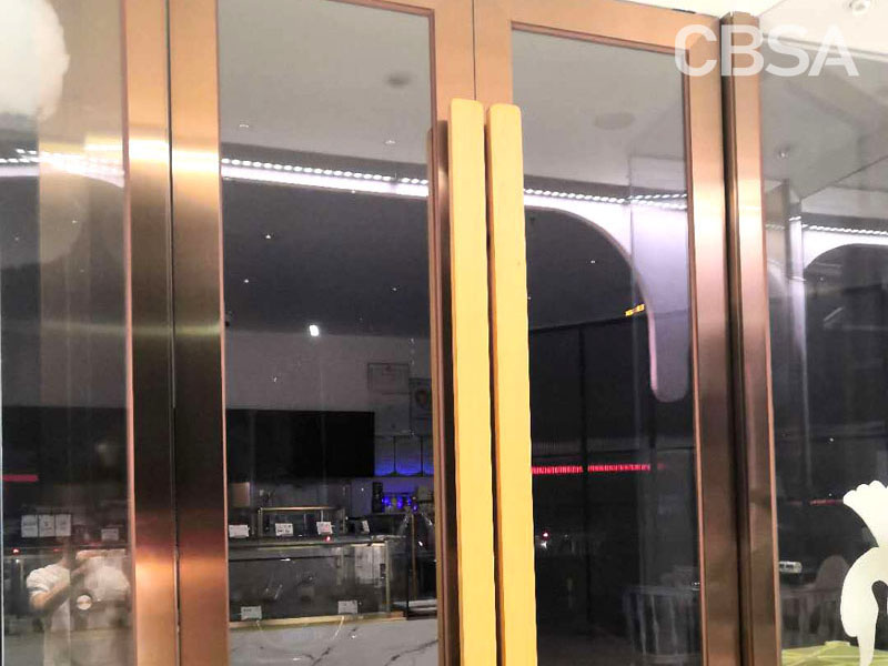 <strong>Mirror gold stainless steel glass door</strong>