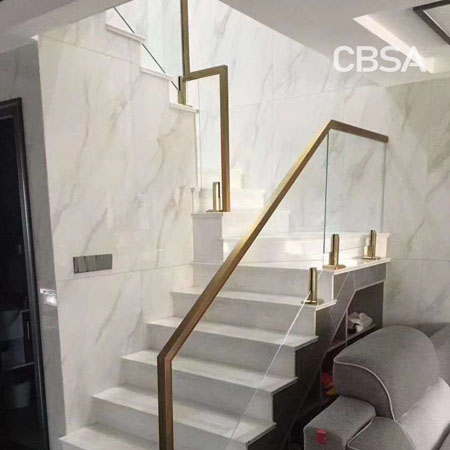 304 Gold Mirror Stainless steel glass stair railing