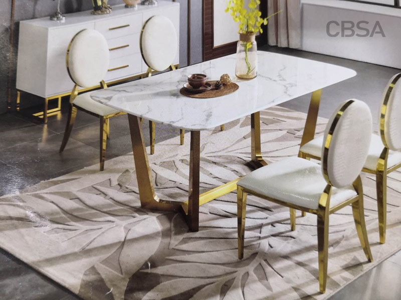 Why are stainless steel furniture made of gold mirror and rose gold mirror material?