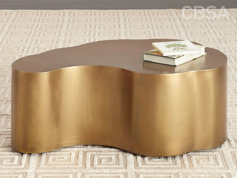 Gold Stainless Steel metal Alien coffee table in the living room