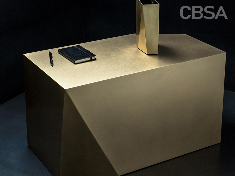 Gold Stainless Steel metal Shaped corner table in the living room