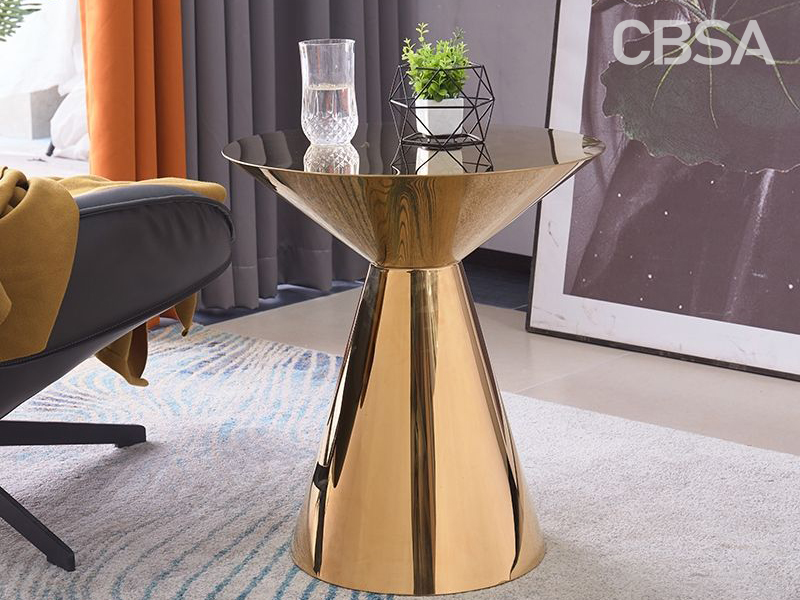 Gold Mirror Stainless Steel Round coffee table in the living room