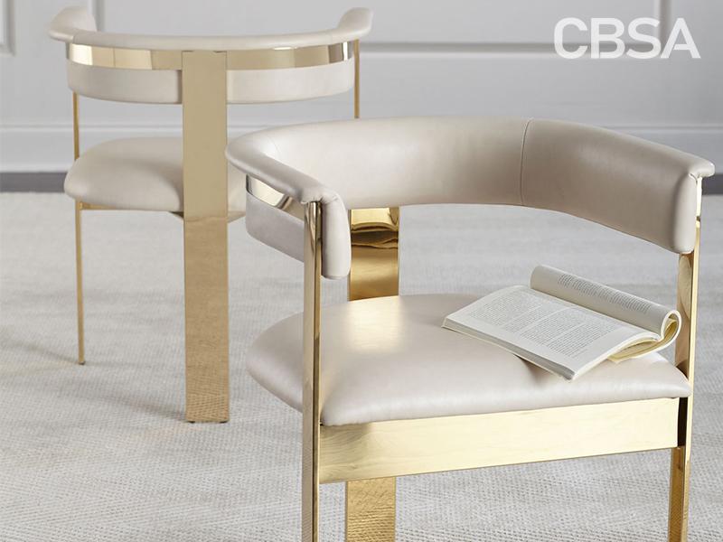 Gold Mirror Stainless Steel metal modern coffee chair