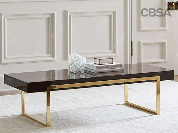 304 stainless steel HL gold coffee table