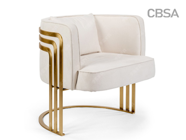 304 stainless steel HL gold coffee chair