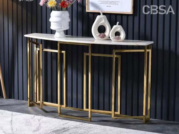 stainless steel HL gold Display table living room