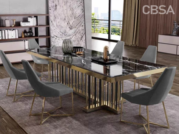 304 stainless steel gold mirror dining tables set