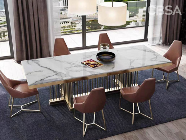 stainless steel gold mirror luxury dining Marble tables set