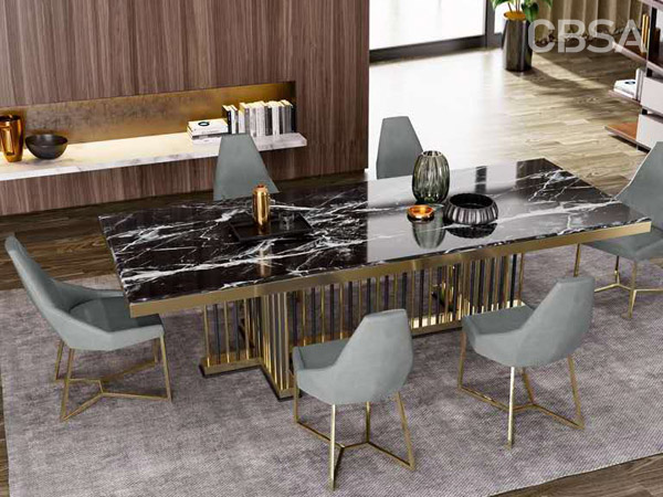 luxury stainless steel dining black Marble Tables set