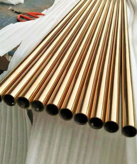 SS gold mirror round pipe